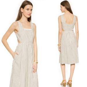 {Madewell} Blue & Cream Striped Side Cutout Dress
